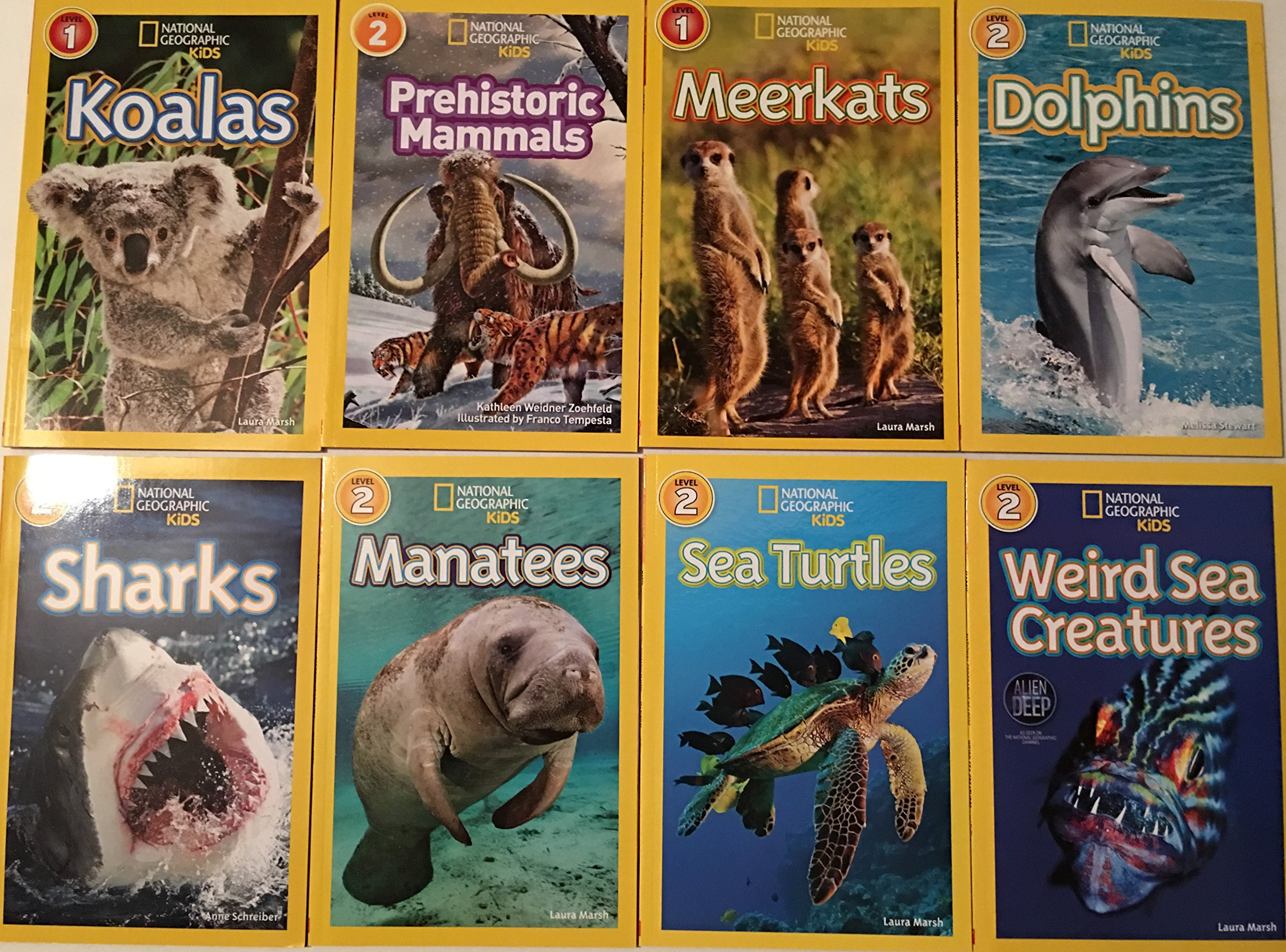 "Image for ""''National Geographic Kids Readers 8 Book Set includes: Sharks, Sea Turtles, Weird Sea Creatures, Manatees,Meerkats, Dolphins, Koalas and Prehistoric Mamamals''"""